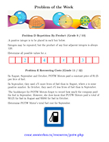 Problem of the Week - Grades 9 - 12